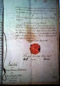 Kaufvertrag über den Verkauf der Mühle an den ehemaligen Pächter Bietmann 1821